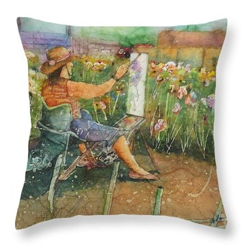 Artist In The Iris Garden Throw Pillow