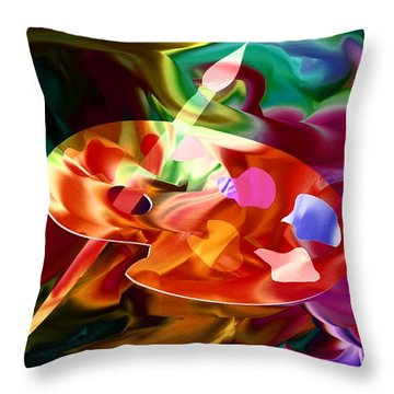 Artist Palette In Neon Colors Throw Pillow