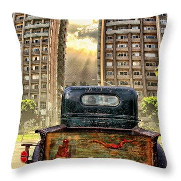 Artist Trucking In The Lbc Throw Pillow by Bob Winberry