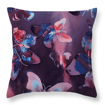 Artistic Colorful Butterfly Design Throw Pillow