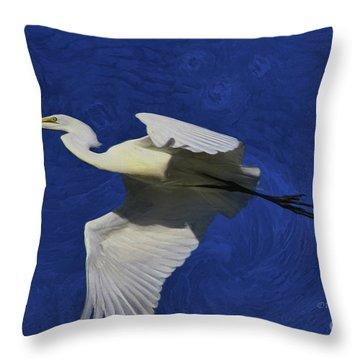 Throw Pillow featuring the painting Artistic Egret by Deborah Benoit