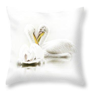 Artistic Photo Of Two Pelican Birds Throw Pillow