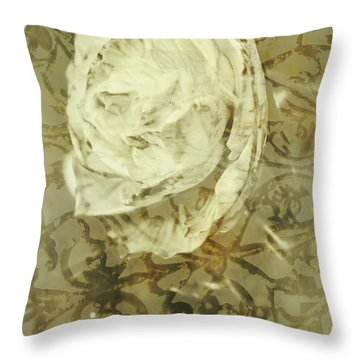 Artistic Vintage Floral Art With Double Overlay Throw Pillow