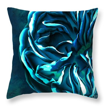 Artistique Rose Blue Throw Pillow