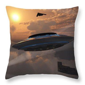 Artists Concept Of Alien Stealth Throw Pillow by Mark Stevenson