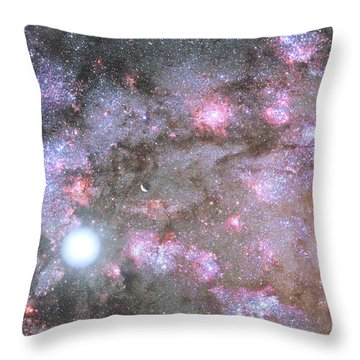Throw Pillow featuring the digital art Artist's View Of A Dense Galaxy Core Forming by Nasa