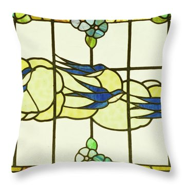 Arts And Crafts Panel Of A Group Of Swallows Before Clouds In A Border Of Flowers Throw Pillow