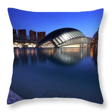 Arts And Science Museum Valencia Throw Pillow by Graham Hawcroft pixsellpix
