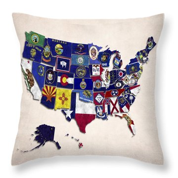 United States Map With Fifty States Throw Pillow by World Art Prints And Designs