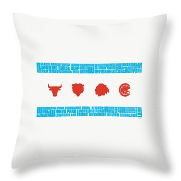 Chicago Flag Sports Teams Throw Pillow by Mike Maher