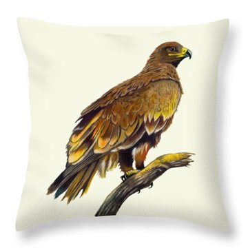 Steppe Eagle Throw Pillow by Anthony Mwangi