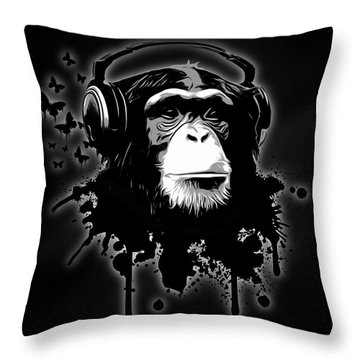 Monkey Business - Black Throw Pillow by Nicklas Gustafsson