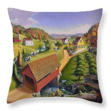 Folk Art Covered Bridge Appalachian Country Farm Summer Landscape - Appalachia - Rural Americana Throw Pillow