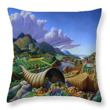 Horn Of Plenty - Cornucopia - Autumn Thanksgiving Harvest Landscape Oil Painting - Food Abundance Throw Pillow