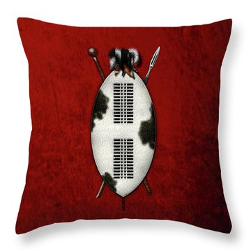Zulu War Shield With Spear And Club On Red Velvet  Throw Pillow
