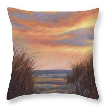 Sunset By The Beach Throw Pillow