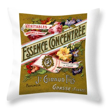 1915 Essence Concentree French Perfume Throw Pillow