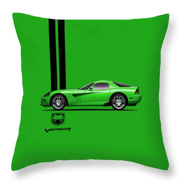 Dodge Viper Snake Green Throw Pillow