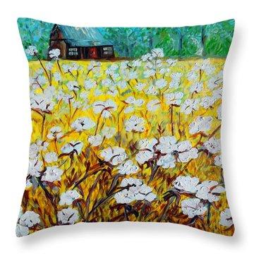 Cotton Fields Back Home Throw Pillow by Eloise Schneider