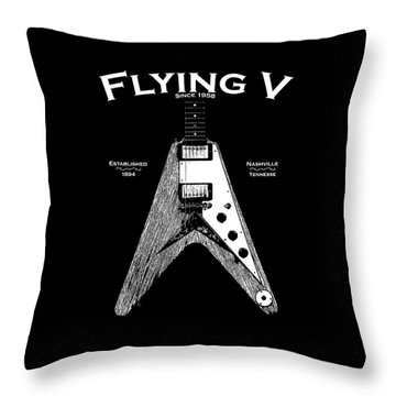 Gibson Flying V Throw Pillow by Mark Rogan