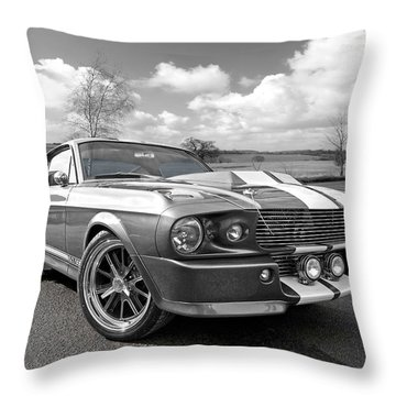 1967 Eleanor Mustang In Black And White Throw Pillow