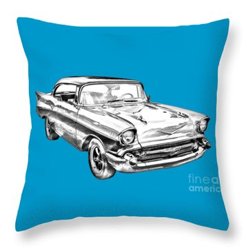 1957 Chevy Bel Air Illustration Throw Pillow