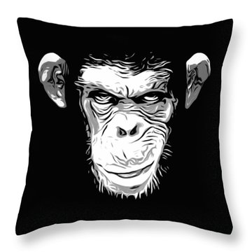 Evil Monkey Throw Pillow by Nicklas Gustafsson