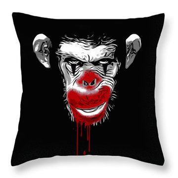 Evil Monkey Clown Throw Pillow