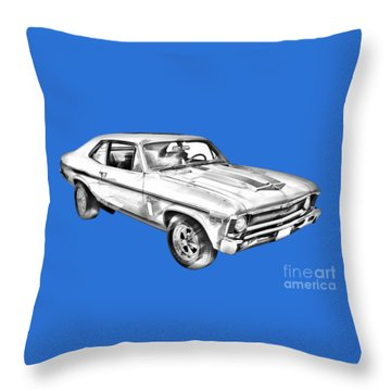 1969 Chevrolet Nova Yenko 427 Muscle Car Illustration Throw Pillow