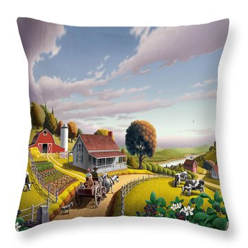 Appalachian Blackberry Patch Rustic Country Farm Folk Art Landscape - Rural Americana - Peaceful Throw Pillow