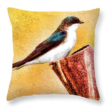 Male Tree Swallow No. 2 Throw Pillow by Bill Kesler