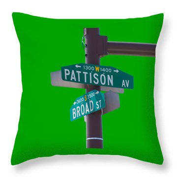Broad And Pattison Where Philly Sports Happen Throw Pillow by Photographic Arts And Design Studio