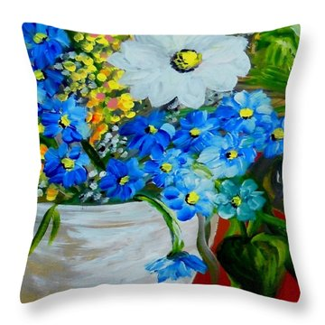 Flowers In A White Vase Throw Pillow by Eloise Schneider