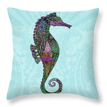 Throw Pillow featuring the drawing Electric Lady Seahorse  by Tammy Wetzel