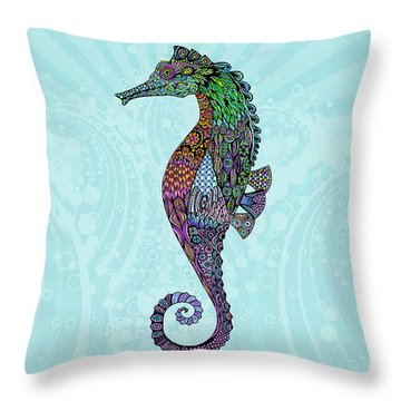 Throw Pillow featuring the drawing Electric Gentleman Seahorse by Tammy Wetzel