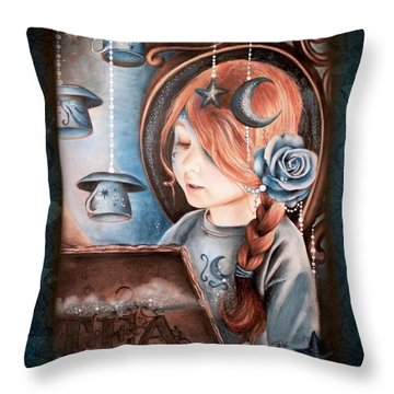 Tea In The Moonlight Throw Pillow by Sheena Pike