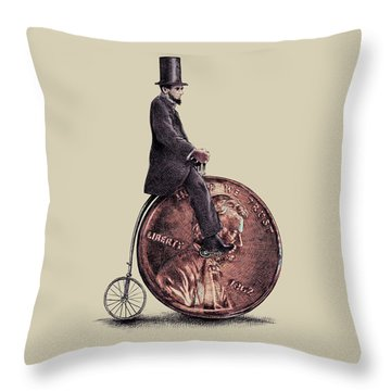 Penny Farthing Throw Pillow by Eric Fan