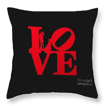 Love Typography - Red On White Throw Pillow