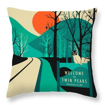 Twin Peaks Travel Poster Throw Pillow