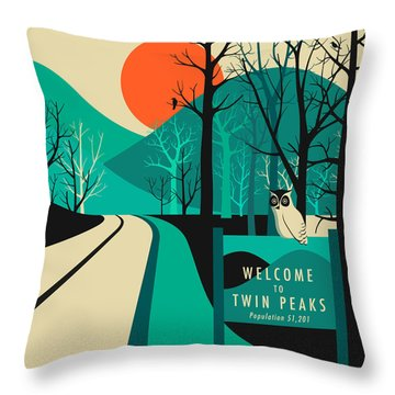 Twin Peaks Travel Poster Throw Pillow by Jazzberry Blue