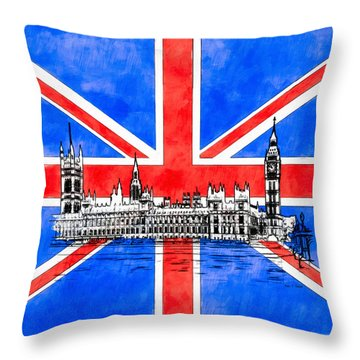 Oh So British - Union Jack And Westminster Throw Pillow by Mark E Tisdale