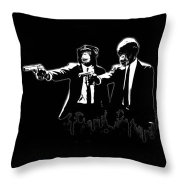 Divine Monkey Intervention Throw Pillow
