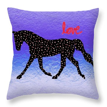 Horse Hearts And Love Throw Pillow by Patricia Barmatz