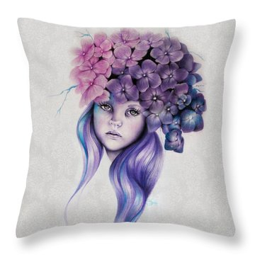 Throw Pillow featuring the mixed media Hydrangea by Sheena Pike