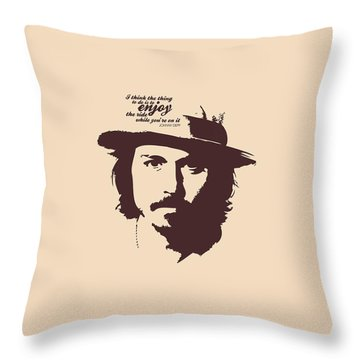 Johnny Depp Minimalist Poster Throw Pillow by Lab No 4 - The Quotography Department