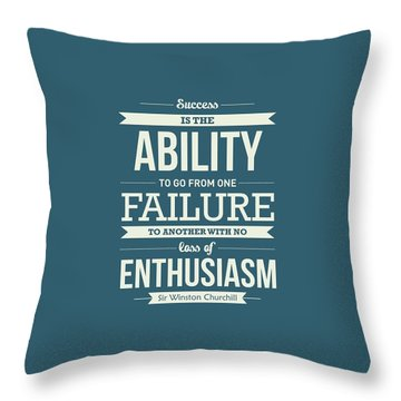 Winston Churchill British Politician Typography Quote Poster Throw Pillow