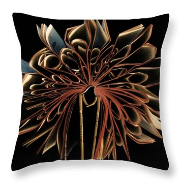 Book Flower Throw Pillow by Nicklas Gustafsson
