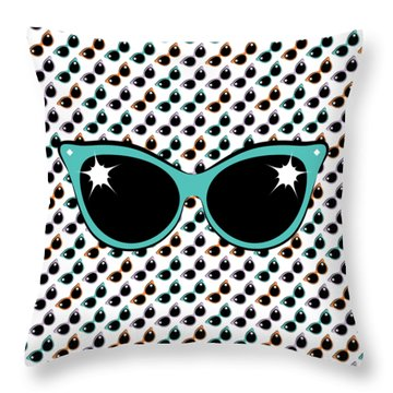 Retro Turquoise Cat Sunglasses Throw Pillow