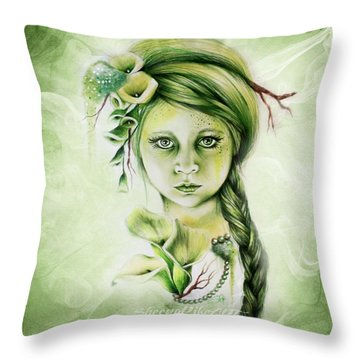 Throw Pillow featuring the drawing Cala by Sheena Pike