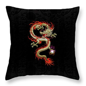 Golden Chinese Dragon Fucanglong On Black Silk Throw Pillow